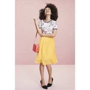 A New Day yellow gold pleated midi skirt